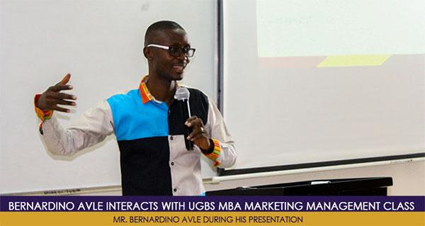Bernard Avle interacts with UGBS MBA Marketing Management Class